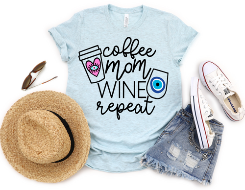 COFFEE MOM WINE REPEAT IN BLUE