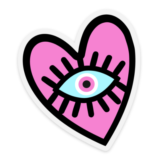 Pink Evil Eye Heart Water Proof, Scratch Proof Premium Clear Stickers