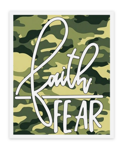 Faith over Fear Camo Sticker - Water Proof, Scratch Proof Premium Clear Sticker