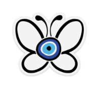 Evil Eye Butterfly Water Proof, Scratch Proof Premium Clear Stickers