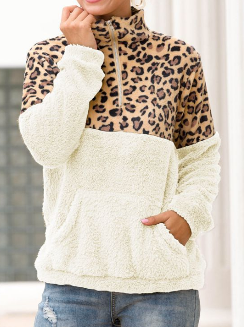 Leopard Sherpa Pullover Sweater