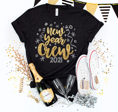 New Years Crew Glitter Design- Black & White