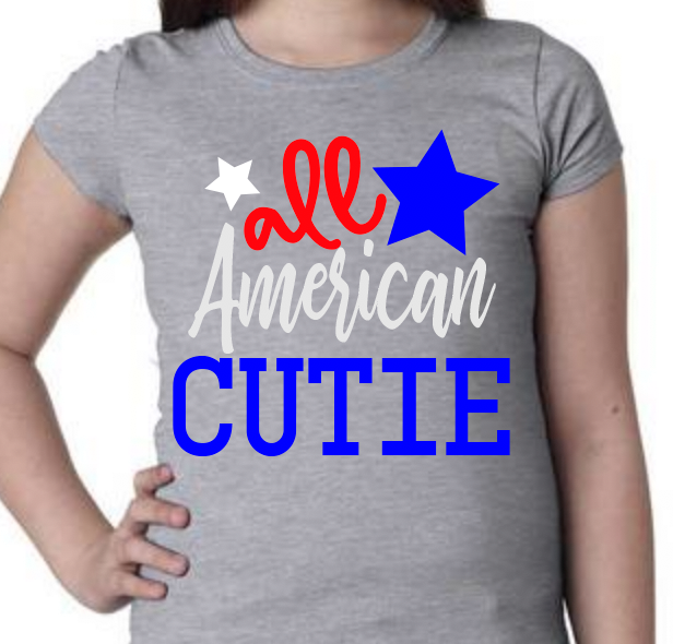 All American Shirts For Fourth of July.  Bottom word can be changed to any word you like :)