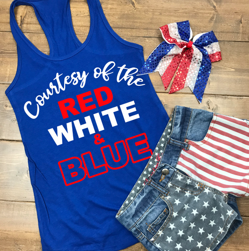 4th of July Shirt Woman & Girls | Red Wine & Blue | Courtesy of the Red White Blue