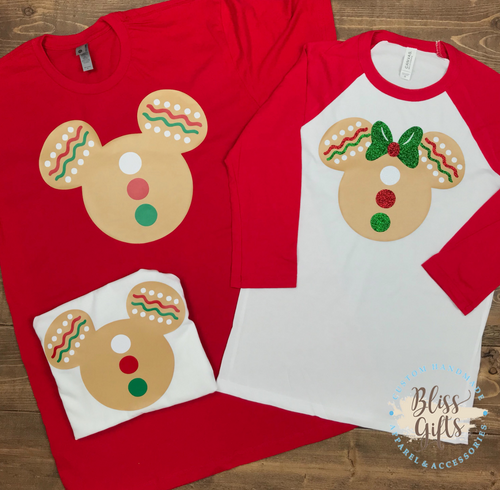 Gingerbread Christmas Minnie and Mickeys, Santa, Disney Christmas Shirt, Funny Christmas Shirt, Christmas Shirt, Kid Holiday Shirt, Santa Visit Shirt, Family Shirts, Family
