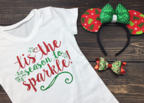 Tis the season to sparkle, cute girls christmas shirt, Funny Christmas Shirt, Christmas Shirt, Kids Holiday Shirt, Santa Visit Shirt, Family Shirts, Family