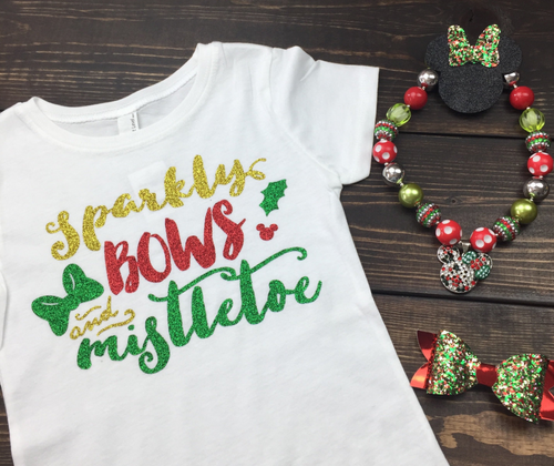 Sparkly Bows and Mistletoe, Minnie Holidays, Christmas Shirt for Girls, Disney Christmas Shirt, Funny Christmas Shirt, Christmas Shirt, Kid Holiday Shirt, Santa Visit Shirt, Family Shirts, Family