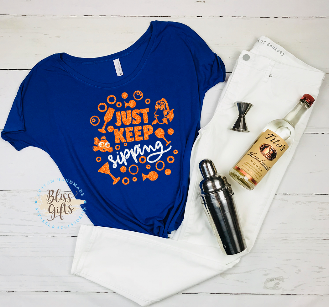 Pixar, Nemo, Dory, Finding Nemo, Just Keep Sipping, Drinking Shirt, this cowgirl runs on whine and disney, Epcot food and Wine Shirt Disney Drinking