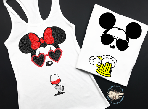 Couples Groups Mickey Minnie Epcot food and Wine Shirt Disney Drinking