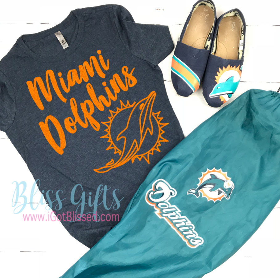 35cd23f2 Miami Dolphins Shirt for Women, Men, Kids With or Without Glitter :)