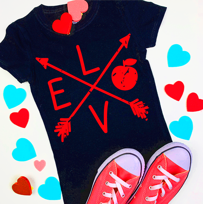 Distressed Grunge Teacher ARROW Apple Valentines Day Design