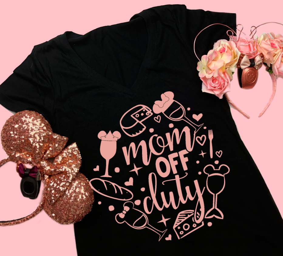 Mom Off Duty Drinking Food and Wine Shirt
