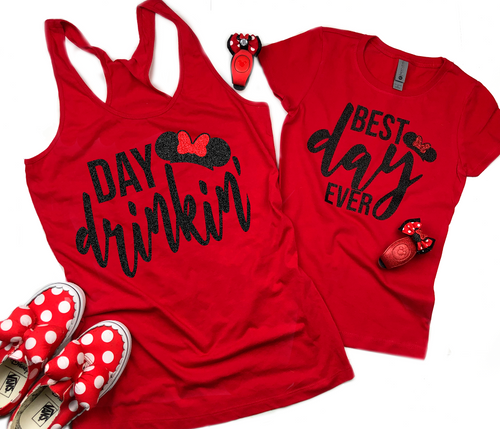 Day Drinkin' Mickey and Minnie Drinking Food and Wine Shirts