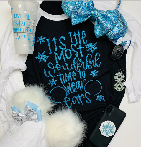 Kids Most Wonderful Time to Wear Ears Elsa Frozen Christmas Disney Shirt