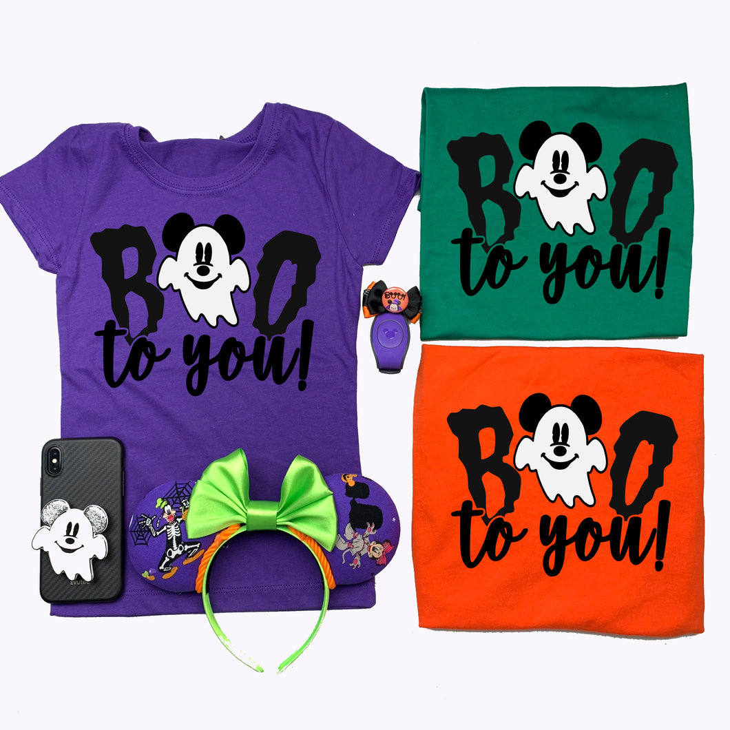 Kids Boo To You Mickey Ghost Shirt