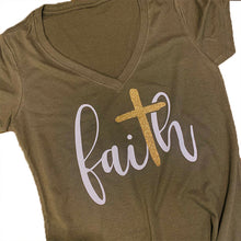 Faith Gold Cross Shirt in Olive Green