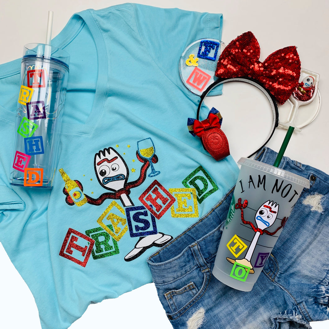 Trashed Forky Drinking Food and Wine Shirt