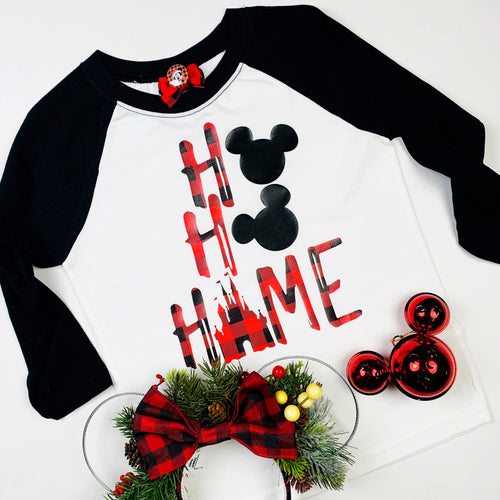 Ho Ho Home Plaid Disney Shirt,  Disney Christmas Shirt,Plus Size Disney,Christmas Disney Shirt,Mickey Mouse Christmas,Santa Mickey, Disney Holiday, Mermaid Christmas, Ariel