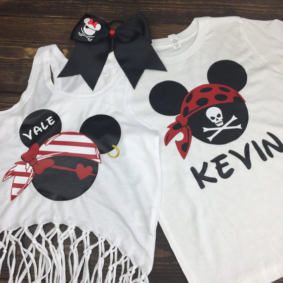 Pirate Bandana Mickey Shirt,Disney Cruise Shirts | Pirate Shirts Disney | Mickey Pirate Shirt | Disney Personalized Family Vacation Shirts | Disneyworld Shirts