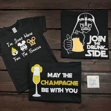 Food and Wine Shirts, Epcot food and wine shirt, disney drinking, star wars drinking, couple, May the champagne be with you, Princess Leia