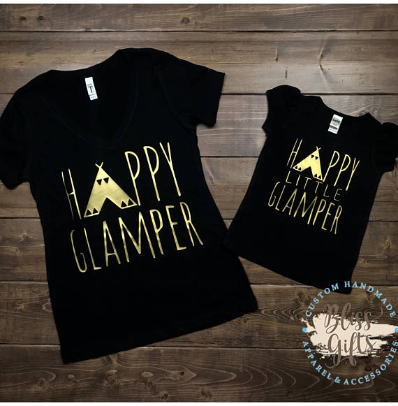 Cute Camping Shirt, Cute Happy Camper, Little Glamper, Happy Camper shirt women, Mom Camping Shirt, Camping Life, Mom Gift, Camping Gift