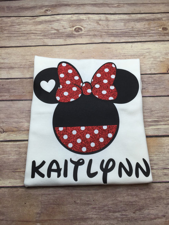 Polka Dot Minnie With Heart In Ear Shirt