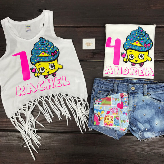 Cupcake Shopkins Personalized Birthday Tee or Tank with Age