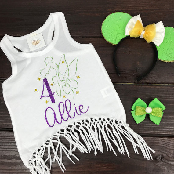 Tinkerbell Personalized Birthday Tee or Tank with Age