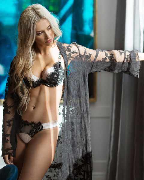 The Blonde Intimates Luxury Sheer Lace Robe - Ivory or Black