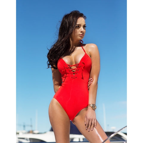 One Piece Swimsuit with plunge lace up detail at front in Red