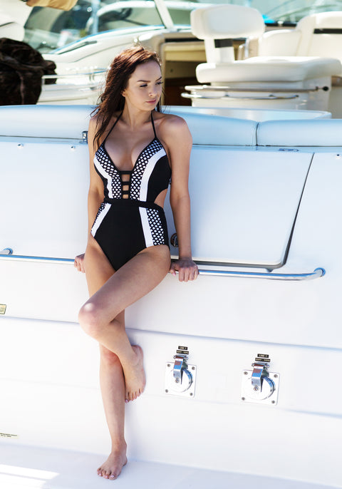 Now on Sale - Jets Swimwear One Piece Swimsuit with classic black and white