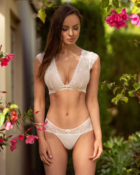 Cap Sleeved Bralette Collection Ivory