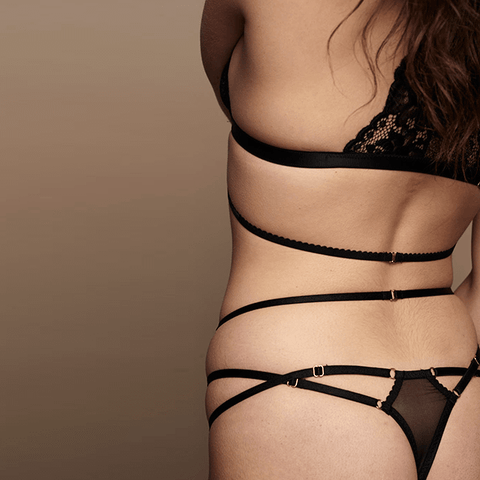 Pure Black Thong with triple strap details.