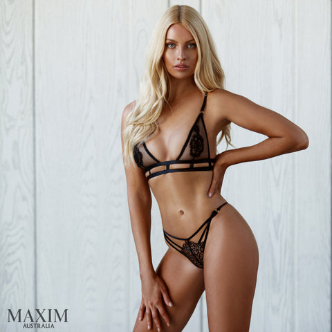Pure Black Feature Bra - As seen in MAXIM
