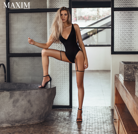 Dolce Bodysuit with Suspender Strap Detail - As Seen in MAXIM