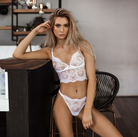 Chrystalle Lace Longline Underwired Bralette White - As seen in MAXIM
