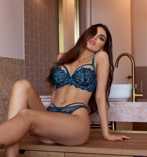 Teal Dahlia Balconnet Bra - As seen in MAXIM