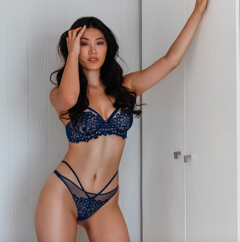 SALE - Midnight Blue Dahlia Balconnet Bra