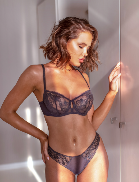 Lacey Sheer Half Cup Charcoal