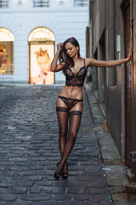 Chrystalle Lace Longline Underwired Bralette Black - As seen in MAXIM