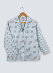 Sky Grey Organic Cotton Blazer Top - Hand Printed