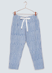 Dawn Blue Organic Cotton Trousers - Hand printed
