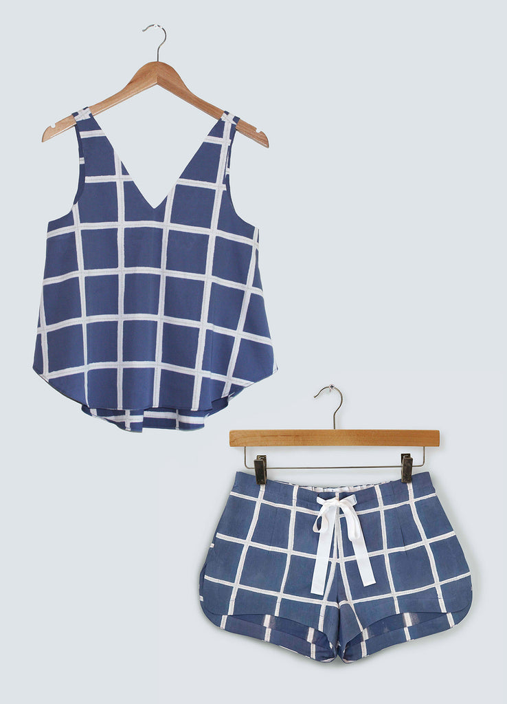 Gift Set - Navy Square V-neck Top & Shorts