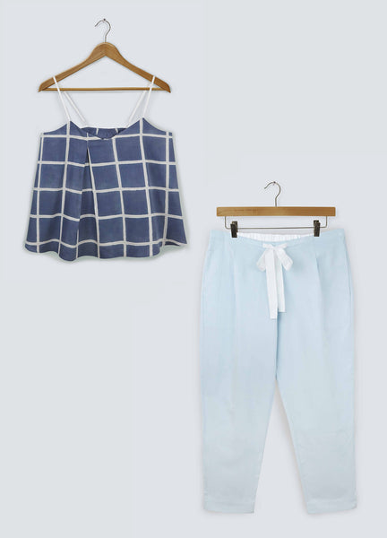 Gift Set - Navy Square Camisole & Sky Grey Trousers