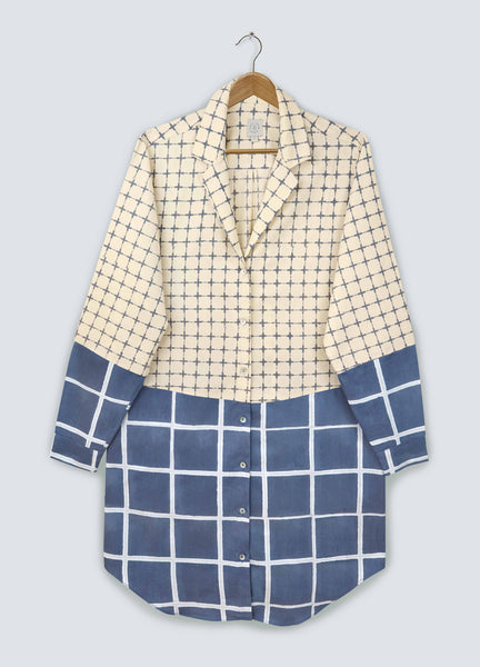 Navy Square Shirt Dress