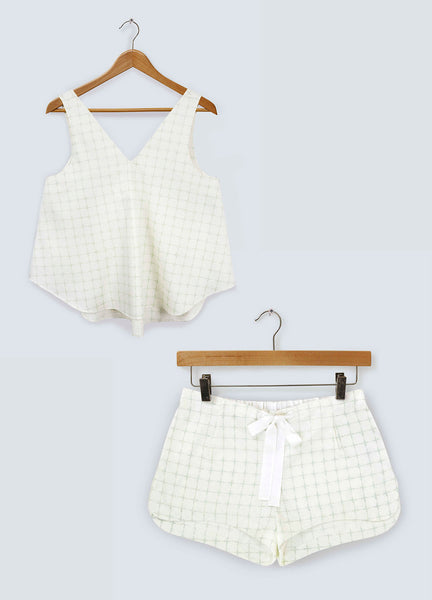 Gift Set - Pastel Green Cross V-neck Top & Shorts