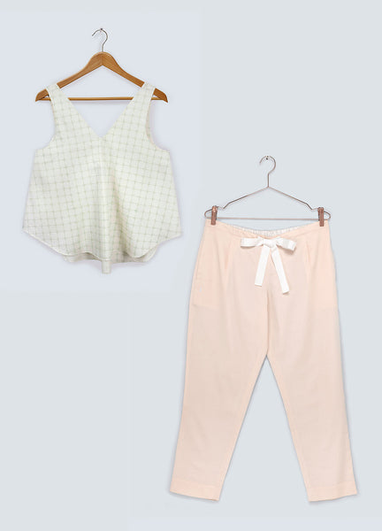 Gift Set - Pastel Green Cross V-neck Top & Dusk Trousers