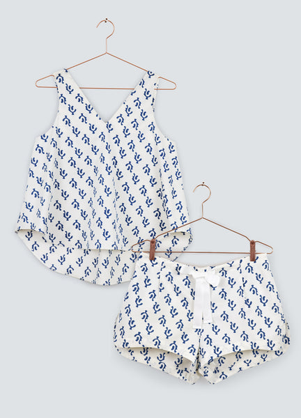 Limited Edition Dawn V-Neck Top &  Shorts Set - Blue