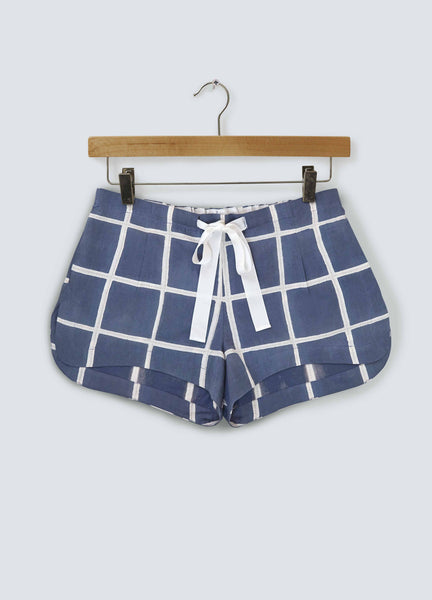 Navy Square Cotton Shorts
