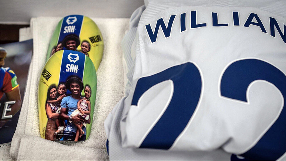 Chelsea winger William match gear – with SAK shin guards - on a Premier League weekend.